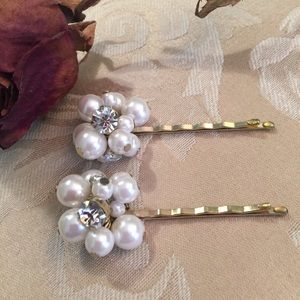 Accessories - Faux Pearl and Crystal Hair Pins - Set of 2